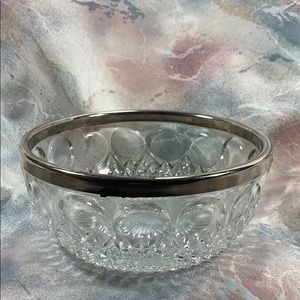 Cut Crystal Serving Bowl with Silver Plated Rim